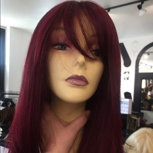 Accessories - Wig Burgundy Wine Lacefront Swisslace Bangs Wig